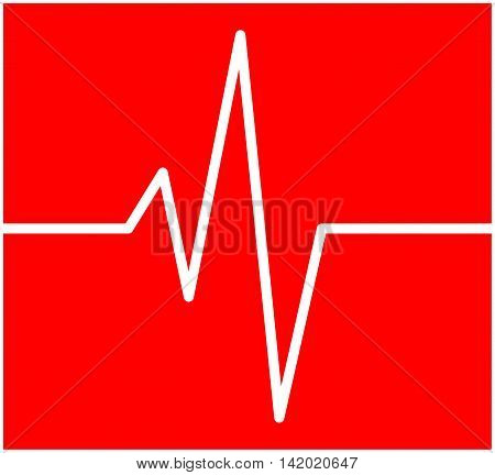 Heart Rhythm, Ecg Line Vector Symbol Icon Design. Beautiful Illustration Isolated On Red Background