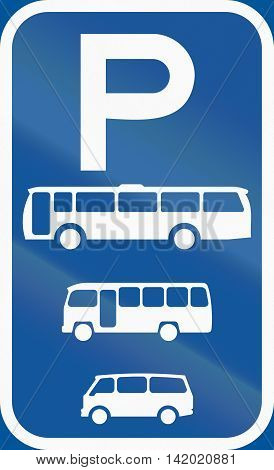 Road Sign Used In The African Country Of Botswana - Parking For Buses, Midi-buses And Mini-buses