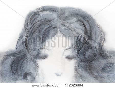 Head of a girl with closed eyes and curly hair isolated on white background. She is deep in her mind or dreams or sleep. Grey black watercolor and charcoal.