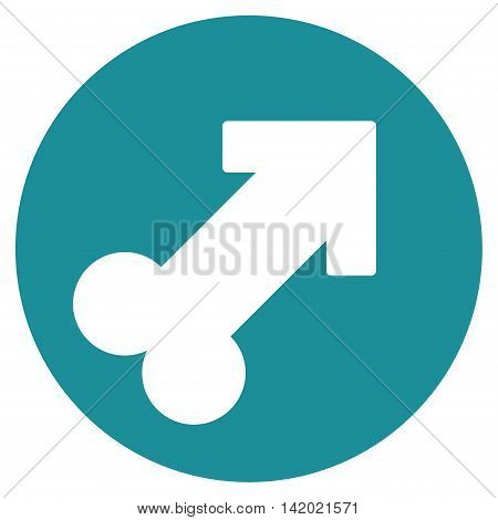 Erection vector icon. Style is flat symbol, soft blue color, rounded angles, white background. poster