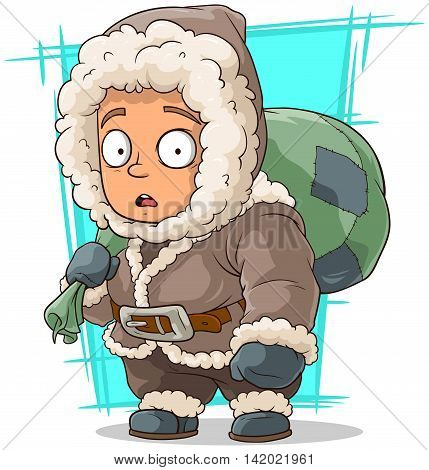 A vector illustration of cartoon cute little eskimo boy