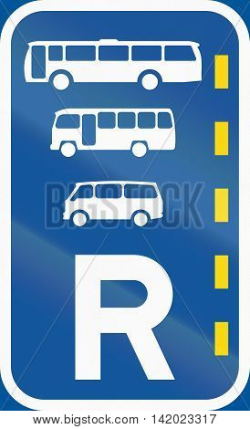 Road Sign Used In The African Country Of Botswana - Reserved Lane For Buses, Midi-buses And Mini-bus