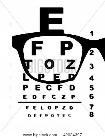 A typical opticians eye test chart over a white background with blurr and glasses