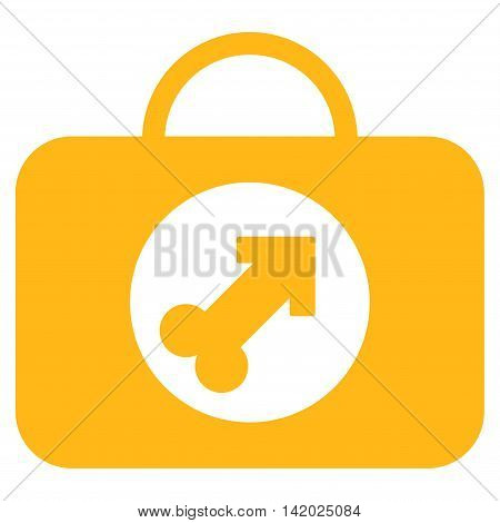 Male Erection Case vector icon. Style is flat symbol, yellow color, rounded angles, white background. poster