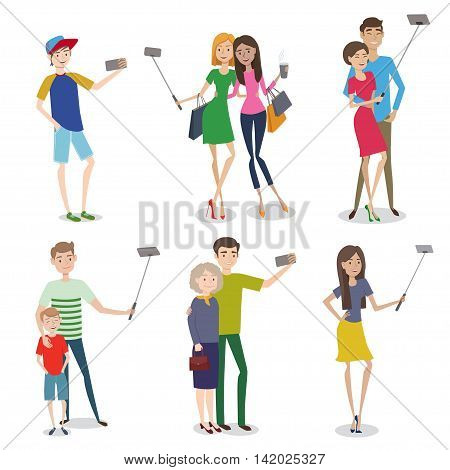 Set of people making self photo using a smartphone. Characters illustration for your design