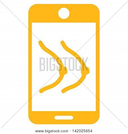 Mobile Erotics vector icon. Style is flat symbol, yellow color, rounded angles, white background. poster