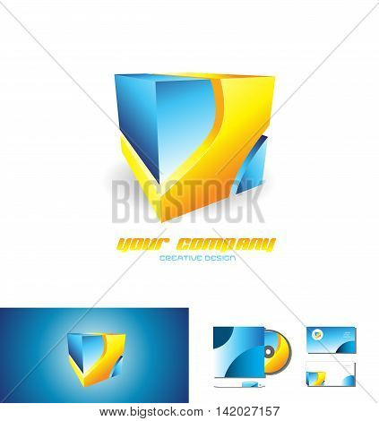 Abstract blue orange abstract cube logo design 3d icon vector company element template games media corporate