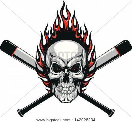 Vector illustration evil skull baseball player in the flame