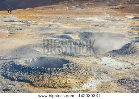 Namafjall hot springs - Myvatn area Iceland. Colourful volcanic landscape.