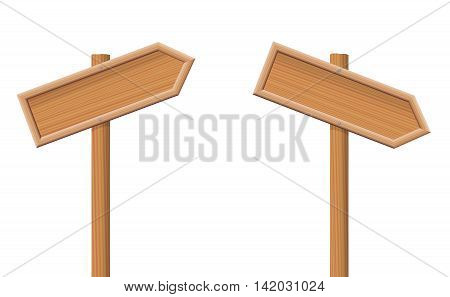 Guideposts pointing up and down - unlabeled, wooden arrows. vector