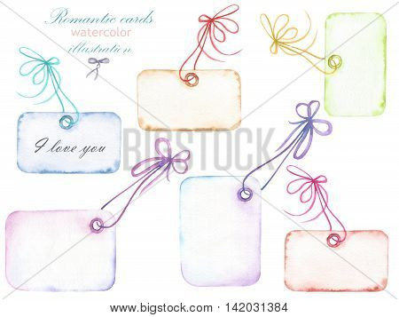 Set of watercolor romantic paper vintage cards with the bows for inscriptions, hand drawn isolated on a white background