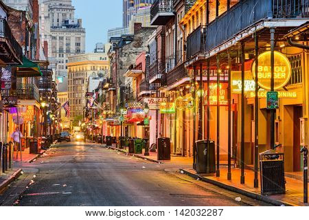 NEW ORLEANS, LOUISIANA - MAY 10, 2016: Bourbon Street in the early morning. The renown nightlife destination is in the heart of the French Quarter.