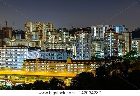 Apartment buildings at night in Singapore