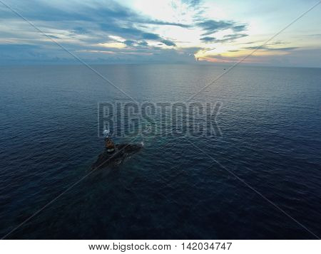 Ocean sea sunset view and lighthouse. Gulf of Thailand sea Thailand Wide angle view.