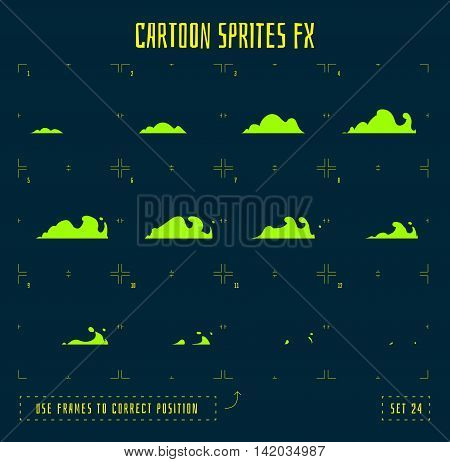 Smoke explosion sprites or fx animation frames icons. Use in game development, mobile games or motion graphic. Vector illustration.