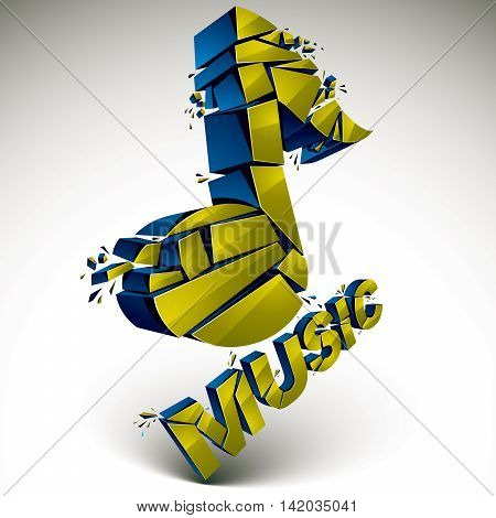 3D Vector Green Demolished Musical Notes, Music Word. Dimensional Groove Design Element With Refract
