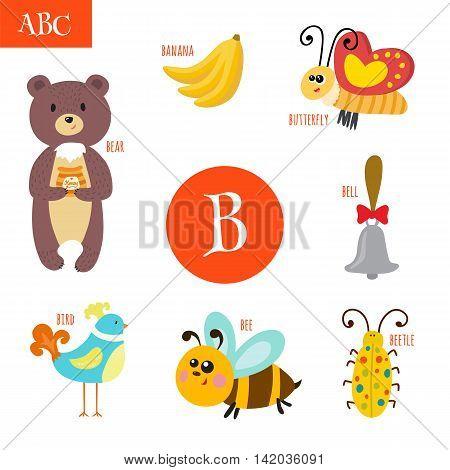 Letter B. Cartoon Alphabet For Children. Bear, Bee, Bell, Bird, Bug, Butterfly, Banana