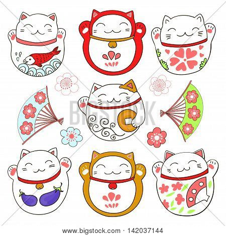 Set with cute cats, good luck charms - maneki neko. Vector illustration. poster