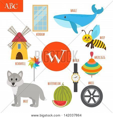 Letter W. Cartoon Alphabet For Children. Watermelon, Whale, Wolf, Watch, Windmill, Whirligig, Wheel,