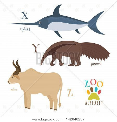Zoo Alphabet With Funny Cartoon Animals. X, Y, Z Letters. Xiphias, Yurumi, Zebu