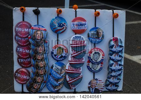 Lancaster PA - August 9 2016: Campaign buttons for sale at a rally during GOP Vice Presidential candidate Gov. Mike Pence appearance in Lancaster County.