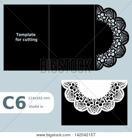 C6 paper openwork greeting card template for cutting lace invitation card with fold lines object isolated background vector illustration poster