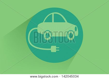 Vector illustration of electro car green icon.