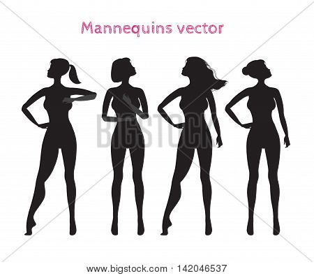 Mannequins for demonstrating gymnastic poses.Vector silhouette of a woman. Fashion clothing store mannequins shop window mannequin set