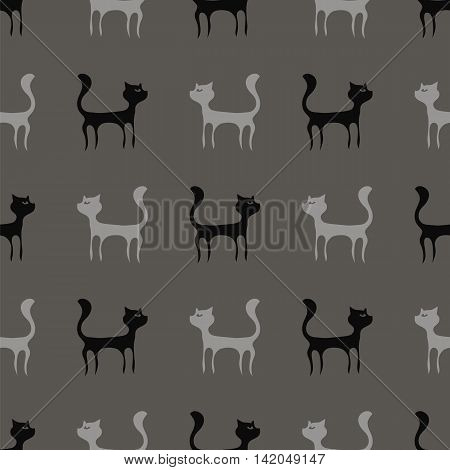 Black Grey Cats Seamless Pattern. Animal Pets Silhouettes Background.