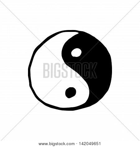 Ying yang symbol icon isolated on white background in style hand draw