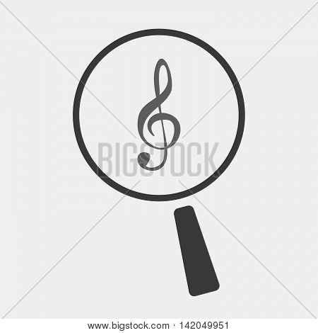 Isolated Magnifier Icon With A G Clef