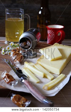 Savoy speciality: light beer Beaufort cheese and caramel