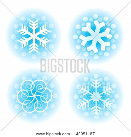 Set of four original stylized snow flakes.Isolated on the white background. Vector available.