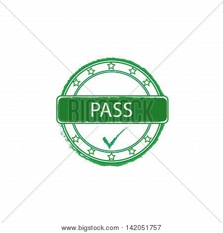 pass grunge vector stamp with tick sign