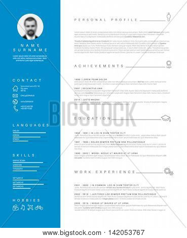 Vector minimalist cv / resume template with nice typogrgaphy design - blue and white simple curiculum vitae layout.