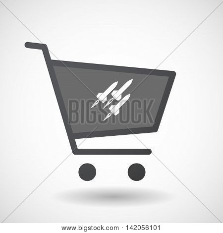 Isolated Shopping Cart Icon With Missiles