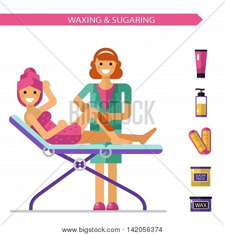 Vector flat design illustration and icons of epilation or depilation procedure. Cosmetologist or beautician depilating legs of beautiful girl in towels.