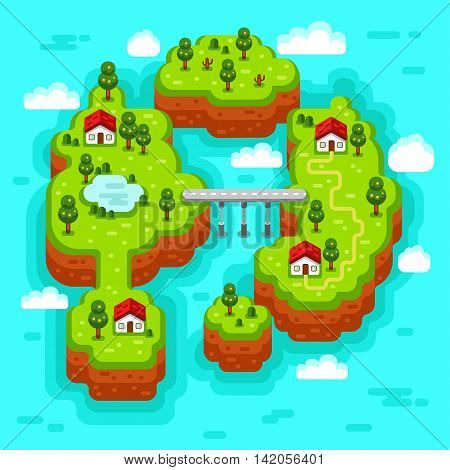 Vector flat style isometric 3d stock illustration of landscape with sea, islands, bridge and road, rural, fishermen village, trees and pond.