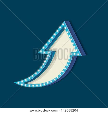 Blue retro frame. Volumetric vintage frame with lights. Futile empty space for your text message advertising. Blue light lamps falls on a blue background. illustration