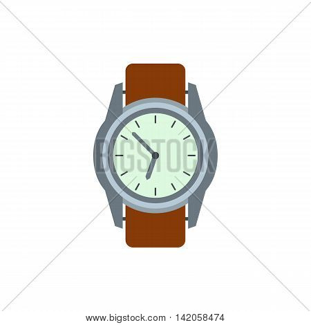 Wrist watch with brown leather strap icon in flat style on a white background