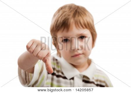 Child Gesturing Thumb Down