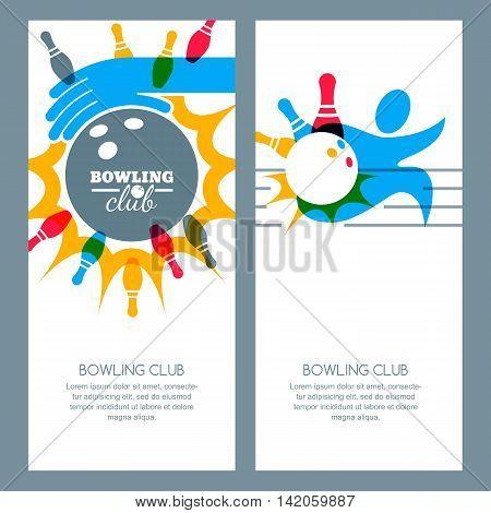 Set Of Bowling Banner Backgrounds, Poster, Flyer Or Label Design Elements.