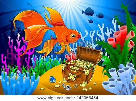 goldfish has found the treasure on the seabed vector