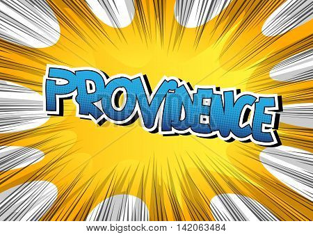 Providence - Comic book style word on comic book abstract background.