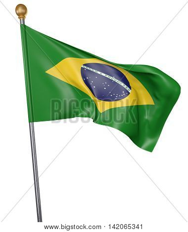 National flag for country of Brazil isolated on white background, 3D rendering
