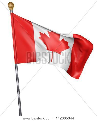 National flag for country of Canada isolated on white background, 3D rendering