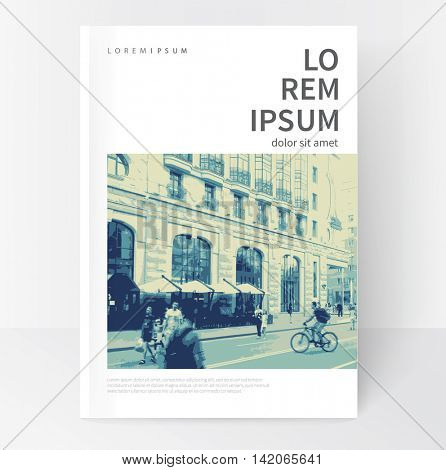 Minimalistic White cover Brochure design. Flyer, booklet, annual report cover template.  vector-stock illustration cityscape duotone