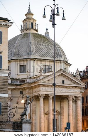 famous piazza del popolo square in rome italy