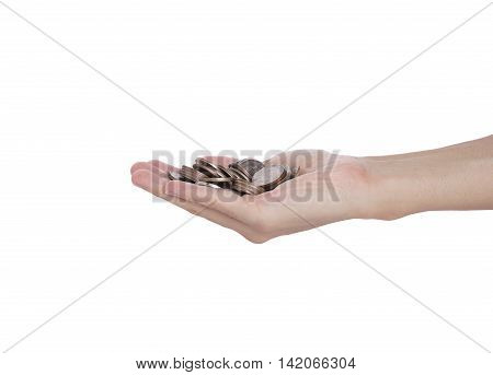 business hand holding coin money isolated on white background