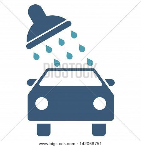 Car Wash vector icon. Car Wash icon symbol. Car Wash icon image. Car Wash icon picture. Car Wash pictogram. Flat cyan and blue car wash icon. Isolated car wash icon graphic.